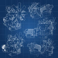 A Big Diesel Engine With The Truck Depicted In The Contour Lines On Graph Paper. The Contours Of The Black Line On The Blue Backgr Stock Photos - 89952113