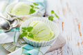 Matcha Tea Ice Cream In White Bowl Stock Images - 89969844