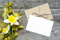 Blank White Greeting Card And Envelope With Daffodil Flowers And Royalty Free Stock Photos - 89984068