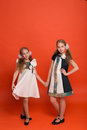Two Sisters In Beautiful Stylized Dresses On A Red Background In Stock Photo - 89988710