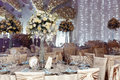 Luxury Wedding Decor With Flowers And Glass Vases With Jewels On Royalty Free Stock Image - 89998056