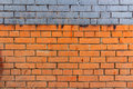 Old Brick Wall With Blue Stripe And Dirty Spots. Abstract Background Royalty Free Stock Images - 90009939