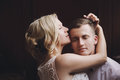 Female And Male Portrait. Lady And Guy Outdoors.Wedding Couple In Love, Close-up Portrait Of Young And Happy Bride And Groom At We Stock Photo - 90026240