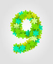 Floral Numbers. Green Flowers. Vector Illustration. Number 9 Stock Photography - 90031182
