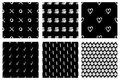 Set Of Seamless Vector Patterns. Black And White Geometrical Endless Backgrounds With Hand Drawn Geometric Shapes, Triangles, Circ Stock Images - 90039904