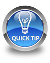 Quick Tip (bulb Icon) Glossy Blue Round Button Stock Photo - 90055620