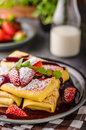 Filled Pancakes With Strawberries Royalty Free Stock Photography - 90066517