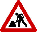 Warning Sign With Road Works Stock Photos - 90070353