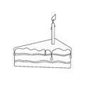 Isolated Black Outline Pie Of Birthday Sponge Cake With Chocolate And Candle Light On White Background Royalty Free Stock Image - 90087376