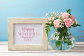 Mothers Day Greeting Card With Rose Flower Bouquet And Photo Frame Stock Photography - 90094272