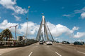 Sydney, Australia - February 26, 2017: Anzac Bridge Over Blackwattle Bay And Jones Bay During A Road Trip Crossing Glebe In Sydney Stock Photos - 90095023