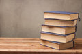 Old Books Stack On Wooden Table Over Rustic Background Stock Photography - 90095332