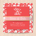 Wedding Invitation Red Card With White Rose Flower Templates Stock Image - 90097561