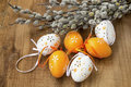 Easter Eggs Decorated With Spring Buds Branches On Wooden  Royalty Free Stock Photo - 90099345