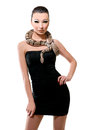 Beautiful Asian Girl In A Little Black Dress Holding A Snake Royalty Free Stock Photo - 90100465