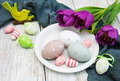 Easter Eggs And Tulips Royalty Free Stock Photos - 90100858