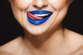 Closeup Picture Of Cheerful Girl`s Smile With Blue Lipstick. Tongue Licking Lips Royalty Free Stock Photography - 90104697