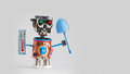 Farmer Gardener Robot With Thermometer Blue Shovel In Hands. Agriculture Seasonal Concept, Funny Toy Character Ready For Royalty Free Stock Images - 90107839