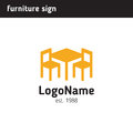 Sign For A Furniture Company, Table And Two Chairs Stock Image - 90121821