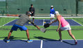 Pickleball - Mixed Doubles Action Royalty Free Stock Photos - 90131398