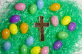 Christian Cross And Easter Eggs Stock Photo - 90132000