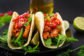 Mexican Tacos With Chicken Fillet In Tomato Sauce And Salsa Stock Image - 90137611