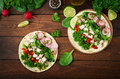 Healthy Mexican Corn Tacos With Boiled Chicken Breast Stock Image - 90137661
