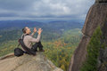 The Man At Top Of The Mountain Enjoys Beauty Of The Nature. To Achieve The Objectives Stock Photo - 90146920