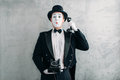 Pantomime Actor Performing With Retro Telephone Stock Photography - 90158282