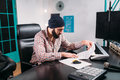 Audio Engineer Work With Music For New Song Stock Image - 90158981