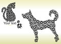 Silhouettes Of Cat And Dog From Tracks Stock Photography - 90161622