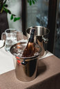 Bottle Of Champagne In Bucket In A Restaurant Royalty Free Stock Photography - 90163677