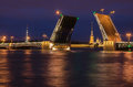 Beautiful View Of The Breeding Of Bridges In The Night St. Petersburg From The Embankment Of The Neva River Royalty Free Stock Image - 90164446