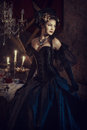 Woman In Black Rococo Dress Royalty Free Stock Photos - 90171028
