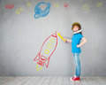 Kid Playing With Jet Pack At Home Stock Image - 90173641