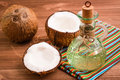Coconuts And Coconut Oil In A Bottle Stock Image - 90177621