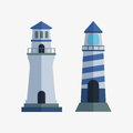 Cartoon Flat Lighthouse Searchlight Tower For Maritime Navigation Guidance Light Vector Illustration. Stock Photography - 90190072
