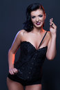 Beautiful Girl In Black Corset Royalty Free Stock Image - 90200366