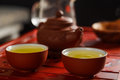 Two Bowls With Fresh Oolong Tea On Tea Desk. Royalty Free Stock Photo - 90200765