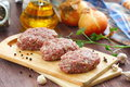 Raw Cutlets On A Chopping Board And Ingredients Royalty Free Stock Image - 90201346
