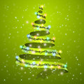 Christmas Tree Ribbon On Background. Glowing Lights For Xmas Holiday Greeting Card Design. A New Year And Christmas Stock Photos - 90216723