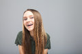 Beautiful Smile Girl With Braces Laughing Royalty Free Stock Image - 90217466