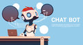 Chat Bot Using Laptop Computer, Robot Virtual Assistance Of Website Or Mobile Applications, Artificial Intelligence Stock Image - 90223011