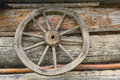 Wooden Wheel From An Ancient Cart Hanging On The Wall Royalty Free Stock Images - 90235039