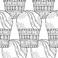 Ice Cream, Dessert. Black And White Illustration For Coloring Book. Seamless Decorative Pattern. Vector Royalty Free Stock Photo - 90258085