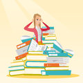 Student Sitting In Huge Pile Of Books. Stock Images - 90258734