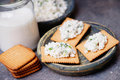 Cracker Cookies With Cottage Cheese And Glass Of Milk Royalty Free Stock Photo - 90266195