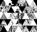 Seamless Pattern Tropical Birds, Palms, Flowers, Triangles. Grunge Ink Style. Royalty Free Stock Photography - 90269117