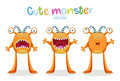 Expressions And Emotions. Cute Cartoon Monsters Emotions. Vector Set Isolated Royalty Free Stock Photos - 90273478