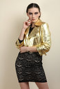 Girl In  Black Dress And  Leather Jacket Royalty Free Stock Images - 90274459